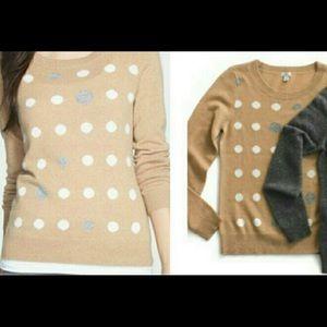 Halogen cashmere sweater polka dots sz L petite